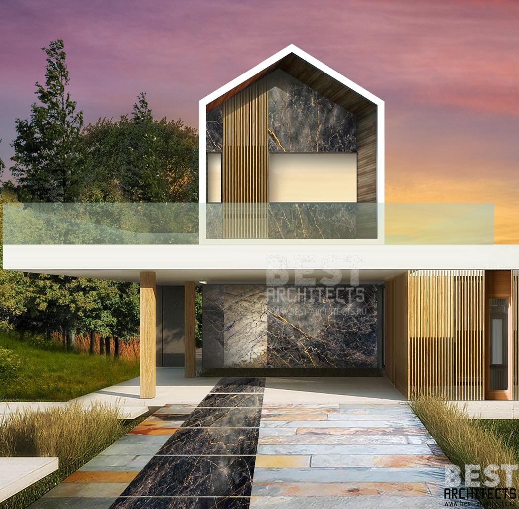 Дом с террасой (архитектор Илья Экономов) квадрат